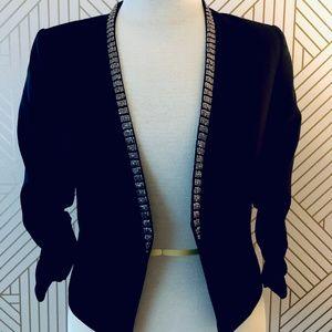H&M- Cropped Black scrunched sleeve blazer